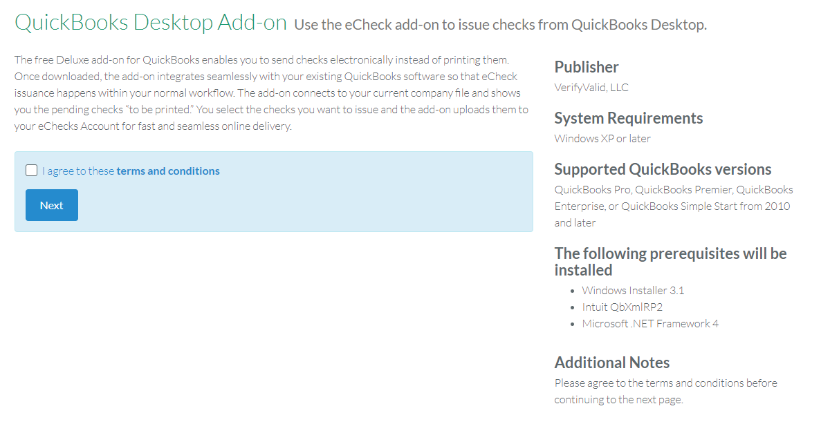 QuickBooks Desktop Add-on Installation Guide – Deluxe eChecks ®